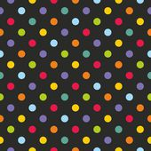 Seamless vector dark pattern or texture with colorful yellow, orange, red, violet, green and blue polka dots on black background — Stock Vector