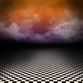 Empty, dark, psychedelic artistic image with black and white checker floor on the ground and ray of light in cloudy, dark sky. — Stock Photo