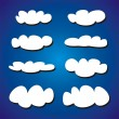 White hand drawn clouds vector illustration set. Collection on dark navy blue sky background. — Stock Vector