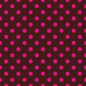 无缝矢量花纹有黑巧克力棕色背景上的粉红色或红色圆点. — 图库矢量图片