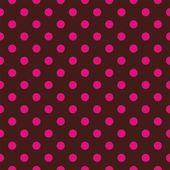 Seamless vector pattern with pink or red polka dots on a dark chocolate brown background. — Stock Vector