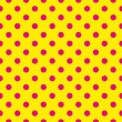 Seamless vector pattern with neon pink polka dots on a sunny yellow background.  — Векторная иллюстрация