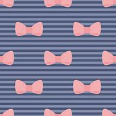 Seamless vector pattern with pastel pink bows on a navy blue strips background. — Vector de stock