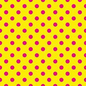 Seamless vector pattern with neon pink polka dots on a sunny yellow background. — Stock Vector