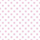 Seamless vector pattern with pastel pink polka dots on a white background. — ストックベクタ