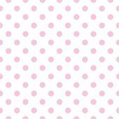 白い背景の上にパステル調ピンク水玉とシームレスなベクター パターン. — ストックベクタ