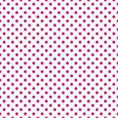 Seamless vector pattern with dark neon pink polka dots on a white background. — Vettoriale Stock