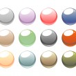 Web buttons vector collection. Blank, glowing, colorful circular button set . Pink, blue, brown and red design elements for website design isolated on white background. — Stock Vector