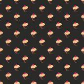 Patrón oscuro vector inconsútil, textura o fondo con cupcakes pan dulce grande sobre fondo negro — Vector de stock