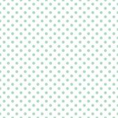 Seamless vector pattern with cute pastel mint green or baby blue polka dots on white background. — Stock Vector