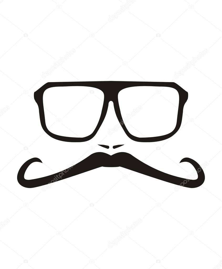 Vector men face with long mustache and huge, hipster ...