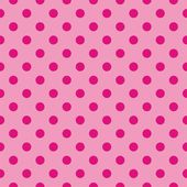 Seamless vector pattern with dark neon pink polka dots on a sweet pastel baby pink background. — Stock Vector
