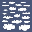 White clouds on blue sky background vector set. Cloud computing concept cartoon or bubble speech collection for flat design and use in a social networks or illustration — Stock Vector #30029469