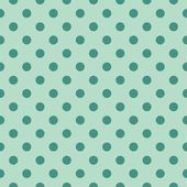 Seamless vector pattern with dark bottle green polka dots on a retro vintage mint green background. — Stock Vector