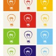 Light bulb vector icon set - hand drawn colorful doodle collection isolated on white with green, blue, dark denim, beige, red, orange and yellow background. Sign of ecology or creative thinking  — Stock Vector