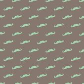 Seamless vector pattern, background or texture with mint green or blue curly vintage retro gentleman mustaches on dark brown background. — Stock Vector