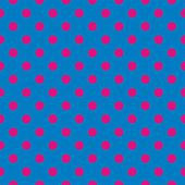 Seamless vector pattern, background or texture with neon pink polka dots on a sailor blue background. — Stock Vector