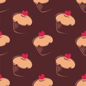 Nahtloser Vektor dunkle Schokolade braun Muster oder Textur mit großen Muffins, Muffins, Süße Kuchen und rotes Herz an der Spitze. — Stockvektor