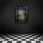 Empty, dark, psychedelic room with black and white checker on the floor and a colorful painting with road symbolizing hope, on the dark wall — Stock Photo
