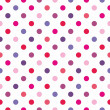Stock Vector: Seamless vector pattern, texture or background with colorful pink, blue, violet and hot red polkdots on white background