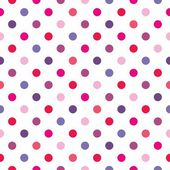 Seamless vector pattern, texture or background with colorful pink, blue, violet and hot red polka dots on white background — Cтоковый вектор