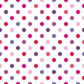 Vetor sem costura padrão, textura ou fundo com coloridos-de-rosa, azuis, violetas e quentes vermelhos bolinhas no fundo branco — Vetorial Stock