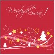 Christmas vector red card or invitation with Merry Christmas wishes in Polish: Wesolych swiat. Kartka swiateczna. — Stock Vector
