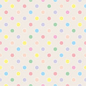 Seamless vector sweet pattern or texture with colorful pastel polka dots with white border on beige background for kids background — Stock Vector