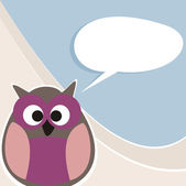 Funny vector owl talking, teaching, giving instructions. Hand drawn symbol of wisdom enlightening people. Illustration with white speech ballon space to put your own text message — Stock Vector