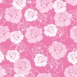 Seamless vector floral pattern with pink and white roses on sweet candy pink background. — Stock Vector