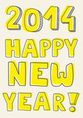 Happy New Year 2014 vector hand drawn wishes. Doodle sign or number symbol draft with yellow highlighter. Highlighting message isolated on beige background — Stock Vector
