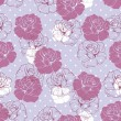 Seamless vector dark floral pattern with violet pink and white retro roses on polka dots blue background — Stock Vector