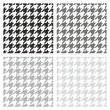 Houndstooth vector seamless pattern or background set  in black, white, dark and light grey color — Stock Vector
