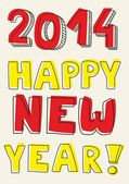 Happy New Year 2014 hand drawn vector colorful wishes. Doodle sign or number symbol draft with yellow and red highlighter. Highlighting message isolated on beige background color. — Stock Vector