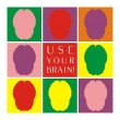 Use your brain colorful vector icon set. Thinking or brainstorm symbol collection with motivation text. Human brain symbolizing idea, mind and wisdom — Imagens vectoriais em stock