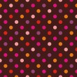 Seamless vector dark pattern or texture with colorful pink, yellow, orange and violet polka dots on red brown background — Stock Vector
