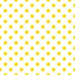 Seamless vector spring or summer pattern with sunny yellow polka dots on white background — Imagens vectoriais em stock