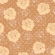 Seamless vector floral pattern elegant beige roses on brown background with polka dots — Stock Vector
