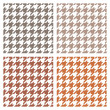 Houndstooth vector seamless pattern set. Traditional Scottish plaid fabric collection for colorful website background or desktop wallpaper in brown, white, dark and grey color. — Stock Vector