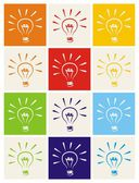 Light bulb vector icon set - hand drawn colorful doodle collection isolated on white with green, blue, dark denim, beige, red, orange and yellow background. — Stock Vector