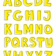 Alphabet yellow letters hand drawn vector set isolated on white background. — Stock Vector #35431401