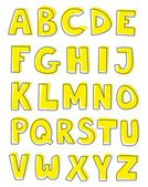 Alphabet yellow letters hand drawn vector set isolated on white background. — Stock Vector