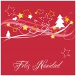 Christmas vector card or invitation for party with Merry Christmas wishes in espanol: Feliz Navidad.  — Stock Vector