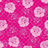 Seamless vector floral pattern with pink and roses on sweet candy pink background with white polka dots. — Stock Vector