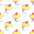 Seamless vector pattern or texture with lemon cupcakes, muffins, sweet cake and red heart on top isolated on white background — Stok Vektör