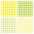 Houndstooth vector seamless summer pattern set. Traditional Scottish plaid fabric collection for colorful spring website background or desktop wallpaper in white, fresh green and sunny yellow color. — Stock Vector