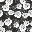 Seamless vector dark floral pattern with white retro roses on black background. Beautiful abstract vintage texture with pink flowers and cute background. — Stock Vector