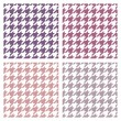 Houndstooth vector seamless colorful pattern set. Traditional Scottish plaid fabric collection for colorful website background or desktop wallpaper in violet, pink, peach, grey and white color. — Stock Vector