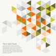 Pastel colorful vector background illustration with empty space for text. Grey, orange, pink and green triangle geometric mosaic card document template. Hipster flat surface aztec chevron zigzag print — Stock Vector