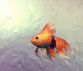Goldfish modern wallpaper. Triangle mosaic flat surface 3d render computer graphic illustration with golden veil fish in water. — Stock Photo